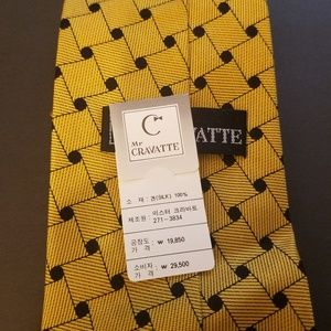 Other - Mr. Cravatte 100 % Silk Black and Gold Tie 57""